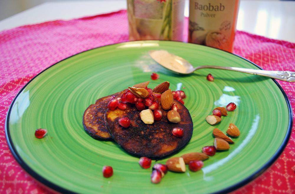 Pandekager med baobab pulver og teff flager