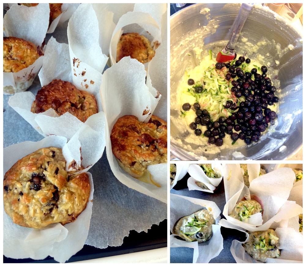 Muffins med blåbær og squash
