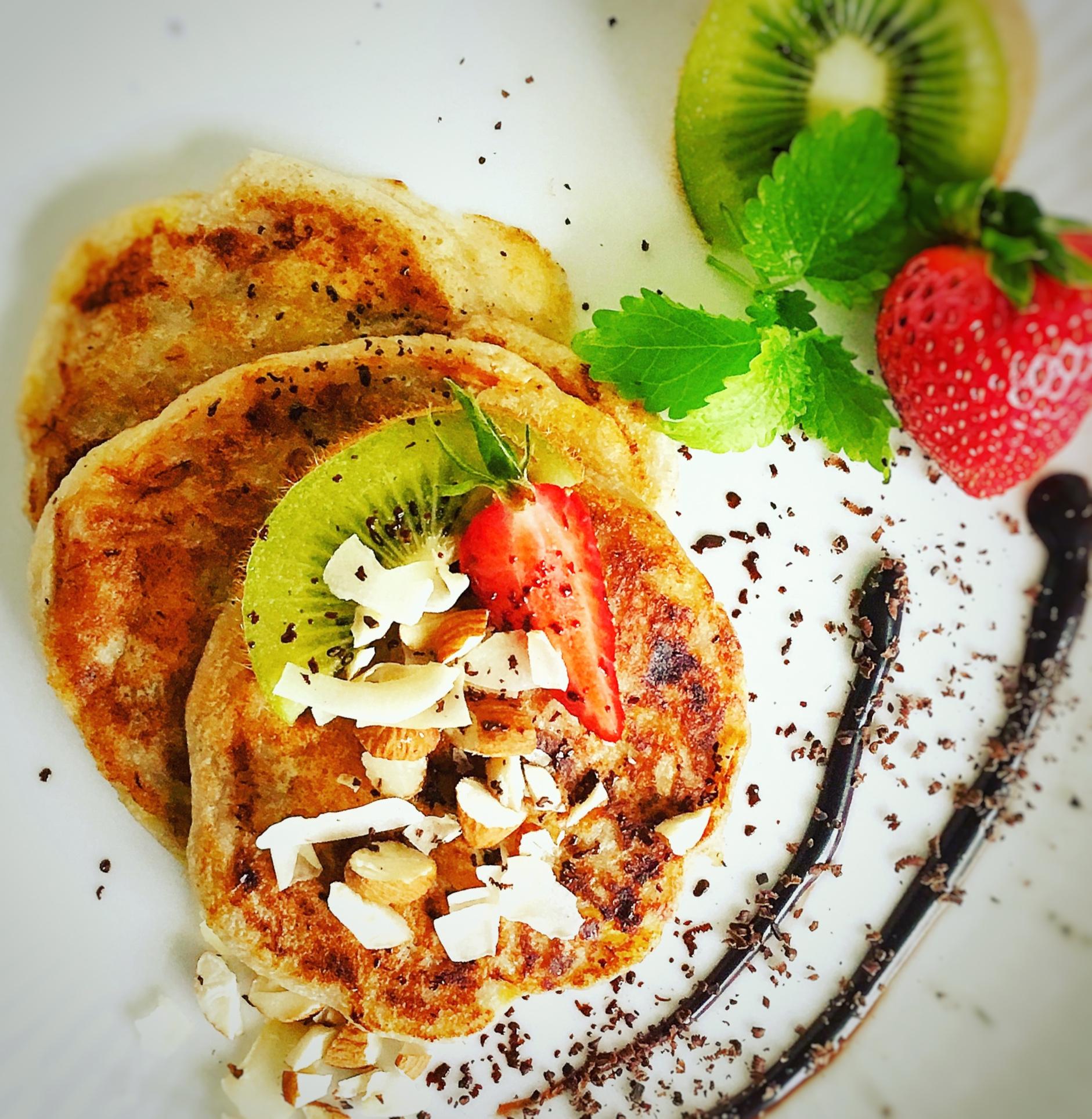 Veganske pandekager med banan – fri for gluten og laktose.