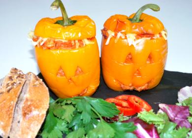 Lækre vegetariske Halloween peberfrugter